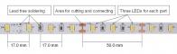 Hver del på 50 mm som kan klippes består av 3 lysdioder og motstand(er) i serie