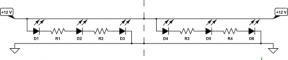 Hver del som kan klippes består av 3 lysdioder og motstand(er) i serie