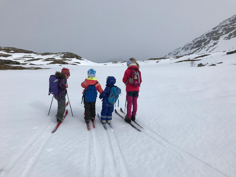 Diskusjon om beste rutevalg på tur fra Søyådalen til hytta, 1. mai 2020. Fotograf: Friederike Zwick
